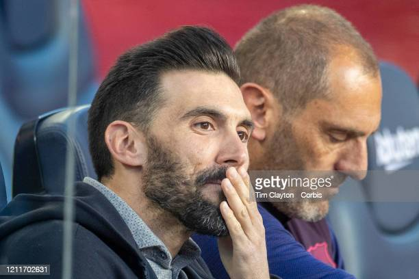 Eder Sarabia assistant coach of Barcelona with trainer Fran Soto in the dugout during the Barcelona V Real Sociedad La Liga regular season match at...