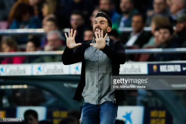 Eder Sarabia of FC Barcelona gestures during the Liga match between FC Barcelona and Real Sociedad at Camp Nou on March 07 2020 in Barcelona Spain