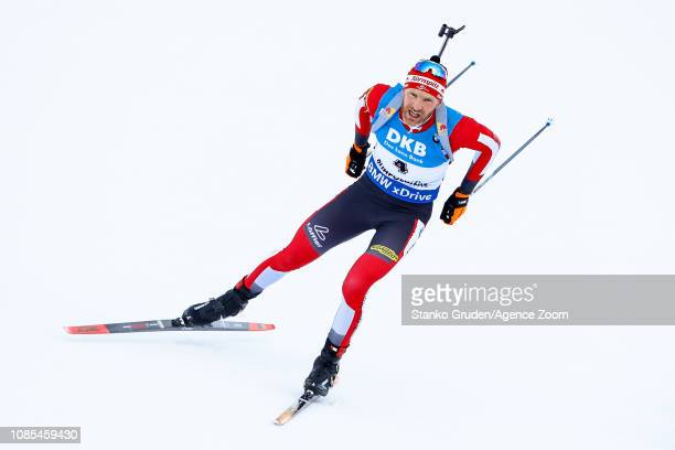 Eder Simon in action during the IBU Biathlon World Cup Men's and Women's Mass Start on January 20, 2019 in Ruhpolding, Germany.