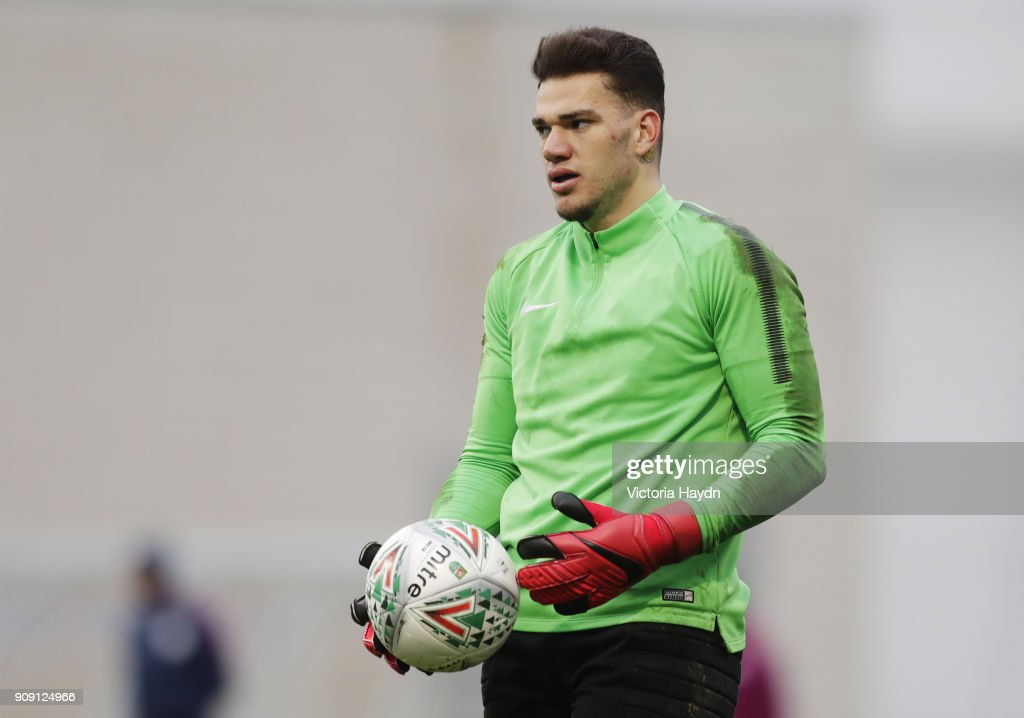 Ederson during training at Manchester City Football Academy on January 22, 2018 in Manchester, England.