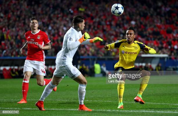 Ederson goalkeeper of Benfica makes a save on Pierre Emerick Aubameyang of Dortmund during the UEFA Champions League Round of 16 first leg match...