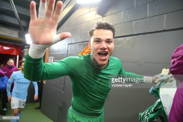 Ederson Moraes after the Premier League match between Manchester United and Manchester City at Old Trafford on December 10 2017 in Manchester England