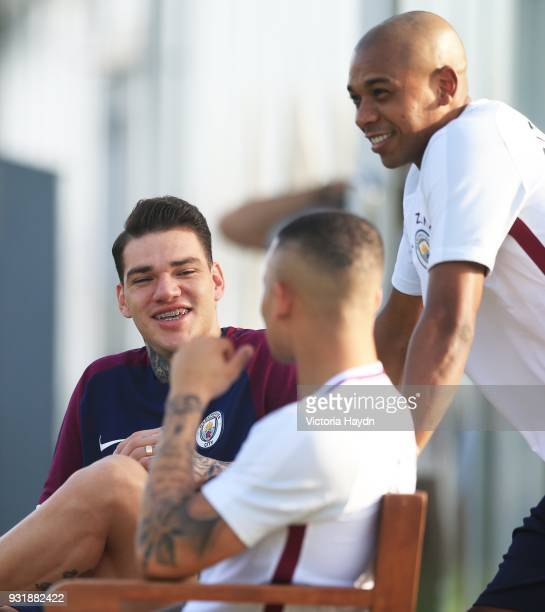 Ederson Moraes and Fernandinho of Manchester City during the Abu Dhabi Warm Weather Training Camp on March 13 2018 in Abu Dhabi United Arab Emirates