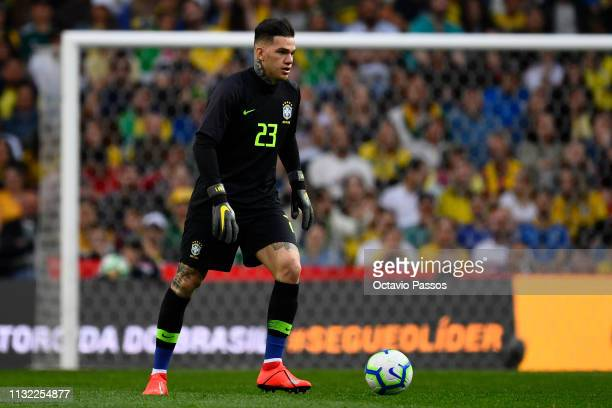 Ederson Moraes of Brazil in action during the international friendly match between Brazil and Panama at Estadio do Dragao on March 23 2019 in Porto...
