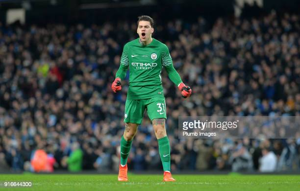 Ederson Moraes of Manchester City celebrates after Sergio Aguero of Manchester City scores to make it 31 during the Premier League match between...