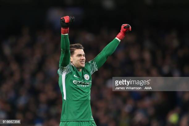 Ederson Moraes of Manchester City celebrates during the Premier League match between Manchester City and Leicester City at Etihad Stadium on February...