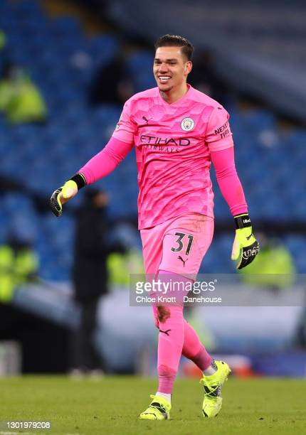 Ederson Moraes of Manchester City celebrates his teams third goal during the Premier League match between Manchester City and Tottenham Hotspur at...