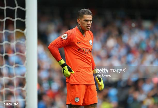 Ederson Moraes of Manchester City during the Premier League match between Manchester City and Huddersfield Town at Etihad Stadium on August 19 2018...