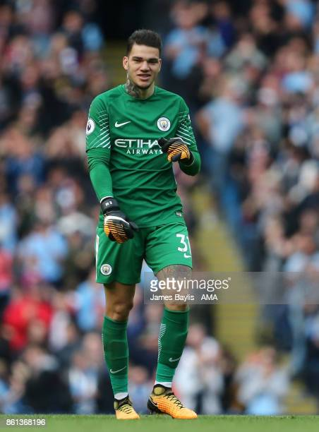 Ederson Moraes of Manchester City during the Premier League match between Manchester City and Stoke City at Etihad Stadium on October 14 2017 in...