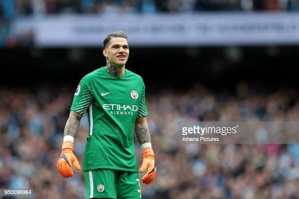 Ederson Moraes of Manchester City during the Premier League match between Manchester City and Swansea City at the Etihad Stadium on April 22 2018 in...