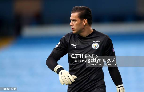 Ederson Moraes of Manchester City during the UEFA Champions League round of 16 second leg match between Manchester City and Real Madrid at Etihad...