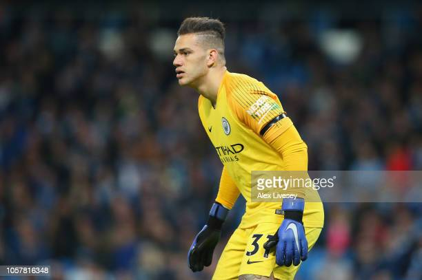 Ederson Moraes of Manchester City looks on during the Premier League match between Manchester City and Southampton FC at Etihad Stadium on November 4...