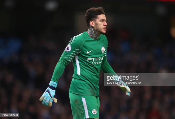 Ederson Moraes of Manchester City looks on during the Premier League match between Manchester City and West Ham United at Etihad Stadium on December...