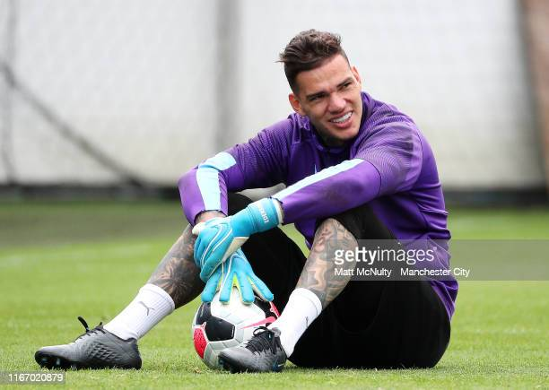 Ederson Moraes of Manchester City looks on during the training session at Manchester City Football Academy on August 09 2019 in Manchester England