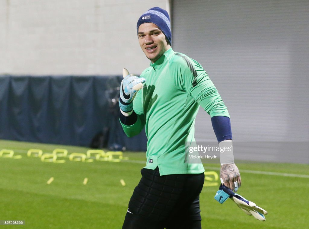 Ederson Moraes of Manchester City reacts during training at Manchester City Football Academy on December 22, 2017 in Manchester, England.