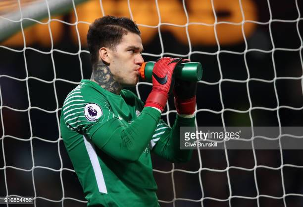 Ederson Moraes of Manchester City takes a drink during the Premier League match between Manchester City and Leicester City at Etihad Stadium on...