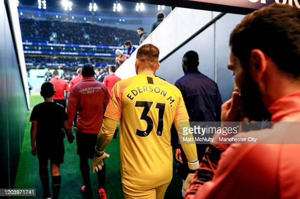 Ederson Moraes of Manchester City walks out prior to the Premier League match between Tottenham Hotspur and Manchester City at Tottenham Hotspur...