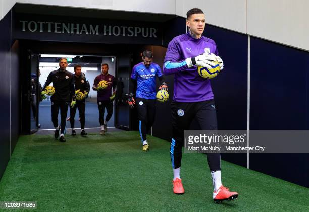 Ederson Moraes of Manchester City walks out to warm up during the Premier League match between Tottenham Hotspur and Manchester City at Tottenham...