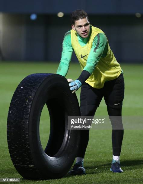 Ederson Moraes reacts during training at Manchester City Football Academy on November 28 2017 in Manchester England