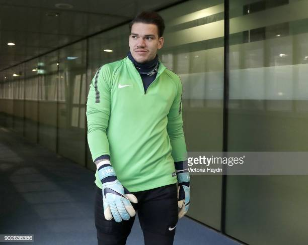 Ederson Moraes reacts during training at Manchester City Football Academy on January 8 2018 in Manchester England