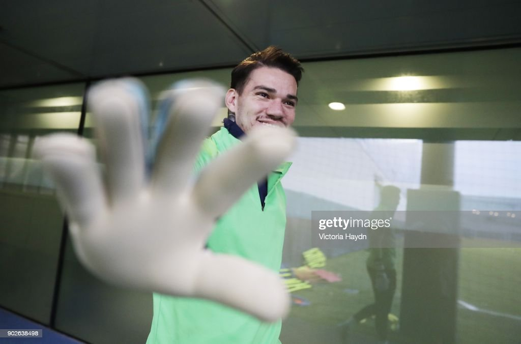 Ederson Moraes reacts during training at Manchester City Football Academy on January 8, 2018 in Manchester, England.