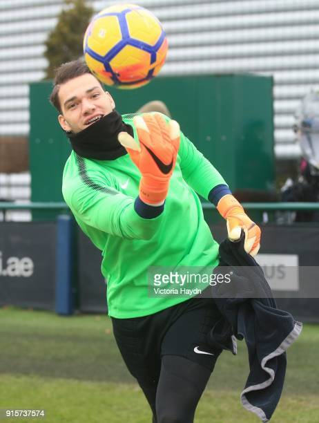 Ederson Moraes reacts during training at Manchester City Football Academy on February 8 2018 in Manchester England