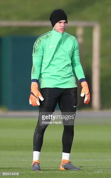Ederson Moraes reacts during training at Manchester City Football Academy on February 17 2018 in Manchester England