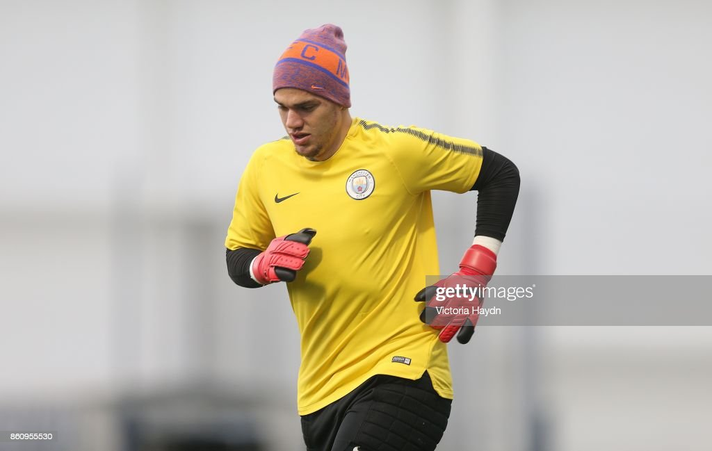 Ederson Moraes running during training at Manchester City Football Academy on October 13, 2017 in Manchester, England.