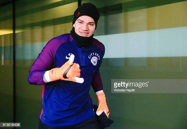 Ederson Moraes walks out to train at Manchester City Football Academy on February 1 2018 in Manchester England