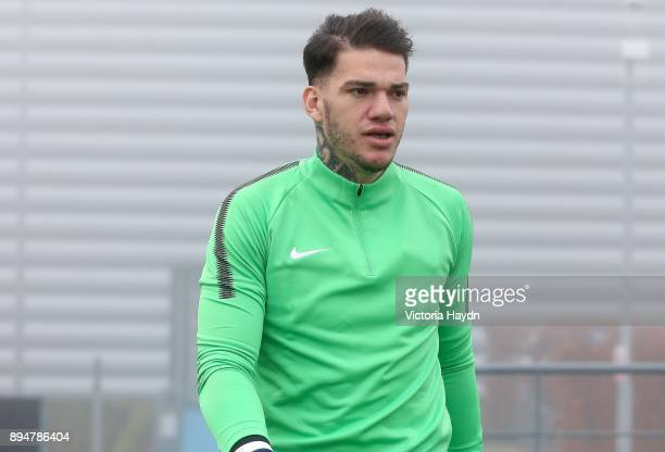 Ederson Moraes walks out to training at Manchester City Football Academy on December 18 2017 in Manchester England