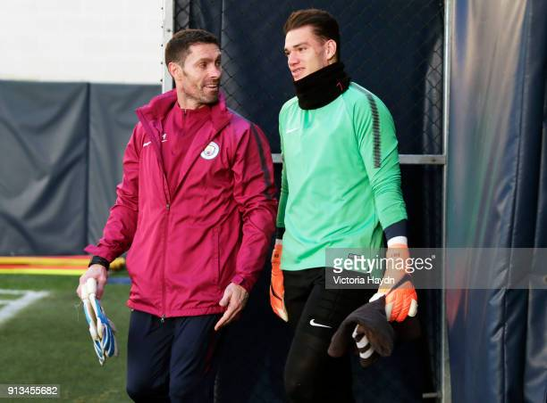 Ederson Moraes walks out to training at Manchester City Football Academy on February 2 2018 in Manchester England