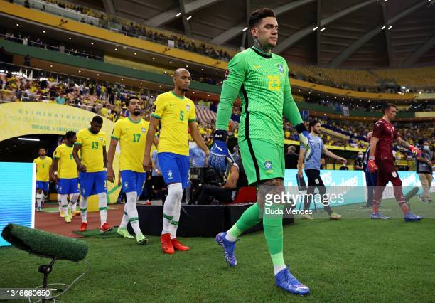 Ederson of Brazil and teammates enter the pitch prior to a match between Brazil and Uruguay as part of South American Qualifiers for Qatar 2022 at...