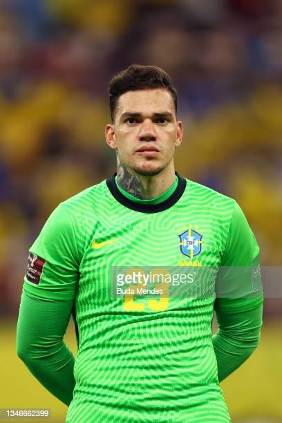 Ederson of Brazil looks on prior to a match between Brazil and Uruguay as part of South American Qualifiers for Qatar 2022 at Arena Amazonia on...