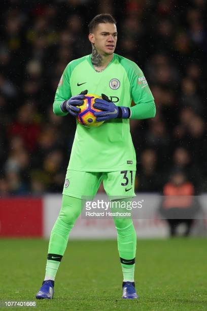 Ederson of Man City in action during the Premier League match between Watford FC and Manchester City at Vicarage Road on December 04 2018 in Watford...