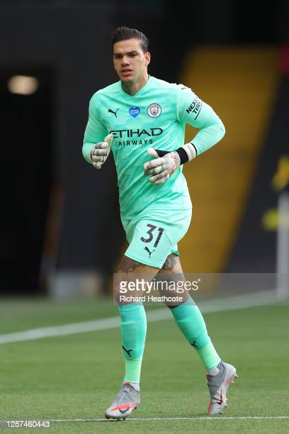 Ederson of Man City in action during the Premier League match between Watford FC and Manchester City at Vicarage Road on July 21, 2020 in Watford,...