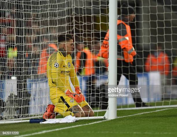 Ederson of Manchester city after the liverpool first goal during the UEFA Champions League Quarter Final Leg One match between Liverpool and...