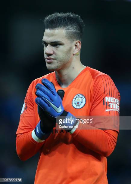 Ederson of Manchester City applauds fans after the Premier League match between Manchester City and AFC Bournemouth at Etihad Stadium on December 1...