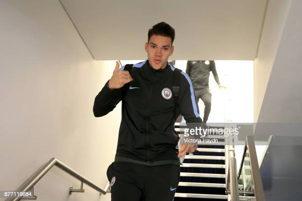 Ederson of Manchester City arrives to the stadium prior to the UEFA Champions League group F match between Manchester City and Feyenoord at Etihad...