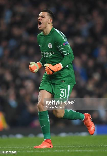 Ederson of Manchester City celebrates after his team score a goal which is later dissalowed during the UEFA Champions League Quarter Final Second Leg...