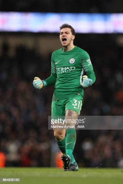 Ederson of Manchester City celebrates after his team scored a goal to make it 21 during the Premier League match between Manchester City and West Ham...