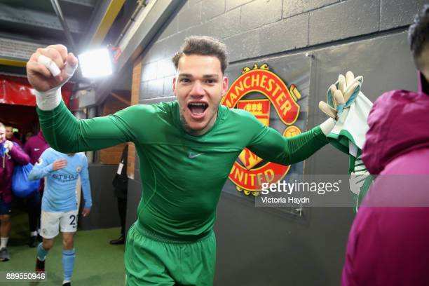 Ederson of Manchester City celebrates after the Premier League match between Manchester United and Manchester City at Old Trafford on December 10...