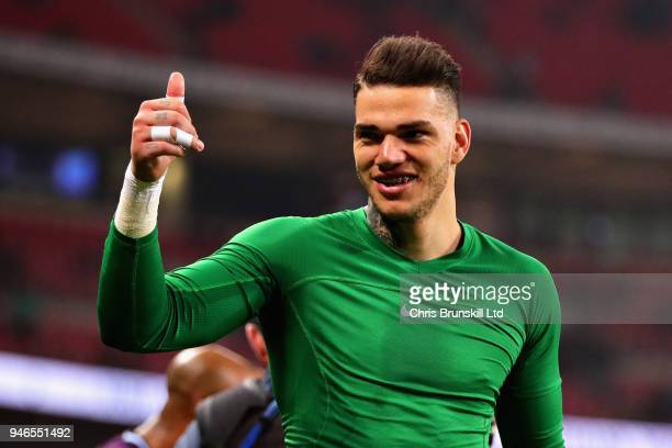 Ederson of Manchester City celebrates after the Premier League match between Tottenham Hotspur and Manchester City at Wembley Stadium on April 14...