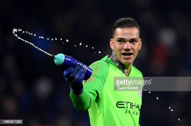 Ederson of Manchester City celebrates after the UEFA Champions League Group F match between Olympique Lyonnais and Manchester City at Groupama...