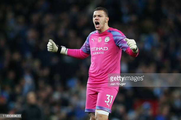 Ederson of Manchester City celebrates during the Premier League match between Manchester City and Southampton FC at Etihad Stadium on November 02...