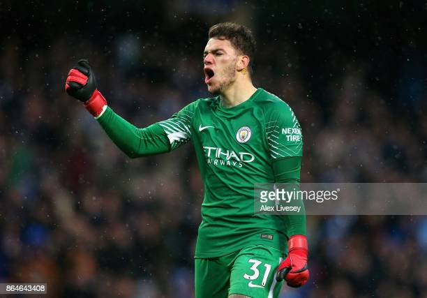 Ederson of Manchester City celebrates during the Premier League match between Manchester City and Burnley at Etihad Stadium on October 21 2017 in...