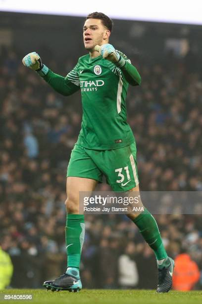 Ederson of Manchester City celebrates during the Premier League match between Manchester City and Tottenham Hotspur at Etihad Stadium on December 16...