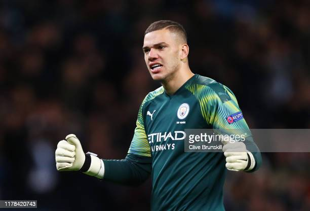 Ederson of Manchester City celebrates following his team's second goal scored by Phil Foden of Manchester City during the UEFA Champions League group...