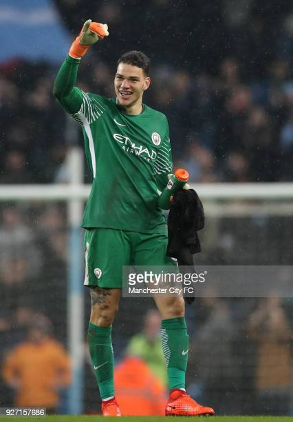 Ederson of Manchester City celebrates following the Premier League match between Manchester City and Chelsea at Etihad Stadium on March 4 2018 in...