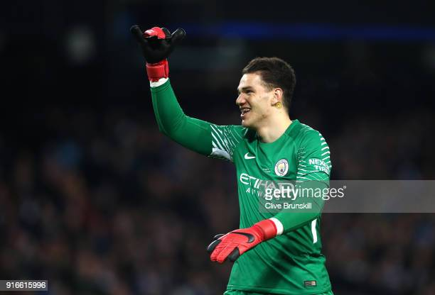Ederson of Manchester City celebrates his side's first goal during the Premier League match between Manchester City and Leicester City at Etihad...