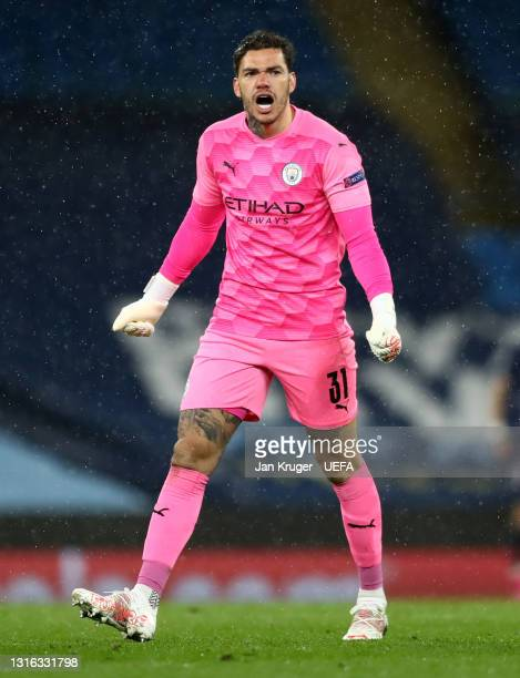Ederson of Manchester City celebrates his sides second goal during the UEFA Champions League Semi Final Second Leg match between Manchester City and...